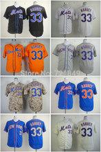 Einzelhandel Großhandel/billige ny new york mets trikot #33 matt Harvey cool baseball shirts schwarz weiß orange blau grau alle Stich(China (Mainland))