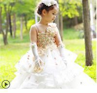 meninas vestir Princess girl wedding dress flower appliques girls party birthday childrens boutique clothing elsa costume dress