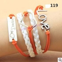 L0119 Hot New Fashion Girl Jewelry Vintage Braided Love Heart Metal Orange Leather Bracelets Multilayer Rope Bangle Wholesale
