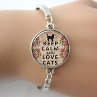 5pcs/lot Keep Calm and Lovely Cats pendant, Keep Calm bracelet charm, Cat lover jewelry  glass charm bracelet&bangle.