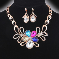 hot selling  ! Rhinestone flower  Pendants & Necklaces Jewelry set   short necklace and earring For Women  F148