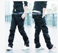 Hot Sale! Free Shipping High Quality Casual Pure Color Double Belts Decorated Korean Man Long Cotton Pants Plus size M-XXXL