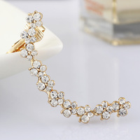 (3pcs or more get  20% off)Gold plated full crystal flower clip earring women's crystal earring clip wholesale