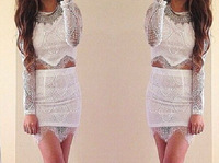 Womens Lace Dresses Hollow Out Flower Mini Two-Piece Loose Casual Sexy Dresses