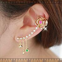 "11.11 jewelry""New"" rose flower inlay crystal rose flower Crystal clip ear bone."