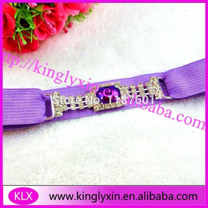 Color selected ! 30pcs/lot dark purple rhinestone headband connector ,rhinestone buckle for elastic(China (Mainland))