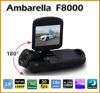 "Popular 180 degree!Car DVR F8000 Full HD real 1080 2.0"" LCD CMOS Ambarella 5.0MP Car Camera Camcorder 120 Degree HDMI Russian"