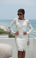 2014 Prom Party Celebrity Slim fit Design Vintage Formal White long sleeve Crochet Sexy Bodycon Bandage Dress