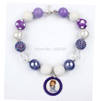Christmas Chunky Beads Princess Sofia Purple Beer Bottle Caps Necklace Bubblegum Beads Pendant Necklace Jewelry Wholesale