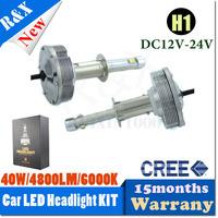 Free shipping 12V/24V H1 40W CREE LED car head Light bulb 6000K White Globe car headLight Kit Replaces Halogen Xenon HID Bulbs