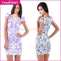 Wholesale 2015  Fashion Bandage Printing Dress Short Sleeve Mini Women Polyester Cute Dresses Evening Party Designer Dresses 45