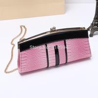 Free shipping KALOOER leather clutch chain shoulder bag cowhide leather handbag evening bag
