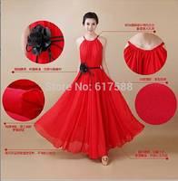 2014 Summer New Women Fashion Casual Sea Beach Dress Bohemia Wave Big Swing Solid Sling Elegant Chiffon Maxi Long Dresses