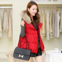 Short design vest 2014 women's autumn and winter fur collar with a hood wadded jacket vest