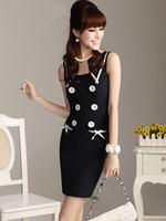 Ebay women's 2014 summer fashion hot-selling women's double breasted slim formal dress one-piece dress
