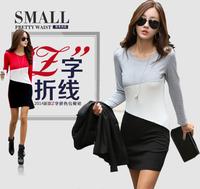 2014 plus size clothing hip slim one-piece dress plus velvet thickening long-sleeve T-shirt female long design basic shirt