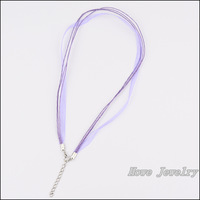 80pcs Multicolor Organza Voile Ribbon Waxed Cotton Necklace Cords Lobster Clasp DIY Jewelry Accessory  HC80916