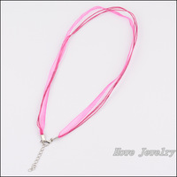 80pcs Multicolor Organza Voile Ribbon Waxed Cotton Necklace Cords Lobster Clasp DIY Jewelry Accessory  HC80912