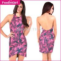 2015 Summer Fashion Latest Designs Women Vestidos Casual Bandge Backless Dress Sexy Sleeveless Round Neck Florals Print Dress 3