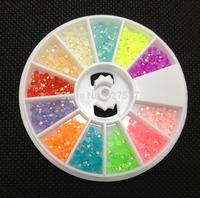2mm Jelly Beads Gems 12 Colors Acrylic UV Gel Tips Decoration Wheel