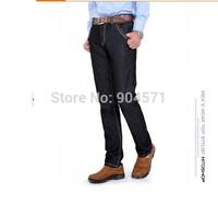 Plus Size Brand Fashion Winter New 2014 Cotton Men Fleece Warm Straight Denim Jeans Washed Middle Waist Casual Zipper Trousers