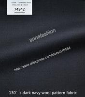 2015-Free shipping 120's dark navy wool pattern fabric