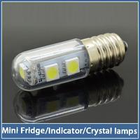 1x Ultra-small 7 LED E14 Lamp 220V 1W SMD 5050 Crystal Spot Light Fridge Refrigerator Indicator Night Desk Reading Corn Bulb