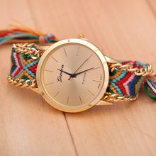 JW689 New Brand Handmade Braided Friendship Bracelet Watch GENEVA Hand-Woven Watch Ladies Quarzt Watch(China (Mainland))
