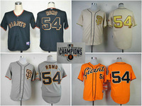 Stitched Mens SF San Francisco Giants shirt 54 Sergio Romo cream grey orange baseball Jersey w/2014 World Series Champions Patch