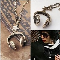 New Arrival Hot Selling Retro fashion Star Diamond headset Long Necklace sweater chain