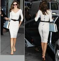Fashion V-neck slim one-piece dress