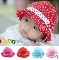 Free Shipping (10pcs/Lot) 2014 Baby Bucket Hat/ Infants Cotton Basin Hat/ Baby Summer Hat Visor Dot Princess Summer Cap
