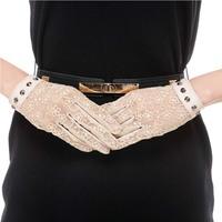 Lace sheepskin leather gloves female sunscreen UV-slip gloves motorcycle gloves rivet Banquet