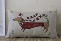 NEW! Festival season Christmas dog Linen pillow cushion cover pillowcases Christmas gift office  Home Decorate sofa cushions