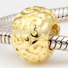 Tracery 18K Gold Color 100 925 Sterling Silver Charm Bead Fits Pandora DIY European Bracelets Necklaces