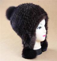 2014 lady winter hat handknitted 100% natural mink  fur with fox fur ball   Winter warm&soft  ear protector cap Women beanie cap