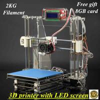 Z605s Reprap Prusa I3 3D Print DIY KIT,3D Printer Desktop Printer with LED Screen,2KG free filament