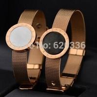 14k rose gold plated white/black net bracelets