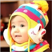 New 2014 Children Cartoon Winter Hat Baby Cut Rabbit Hats Girls and Boy Knitting Wool Keep Warm Outdoor Cap Free Shipping