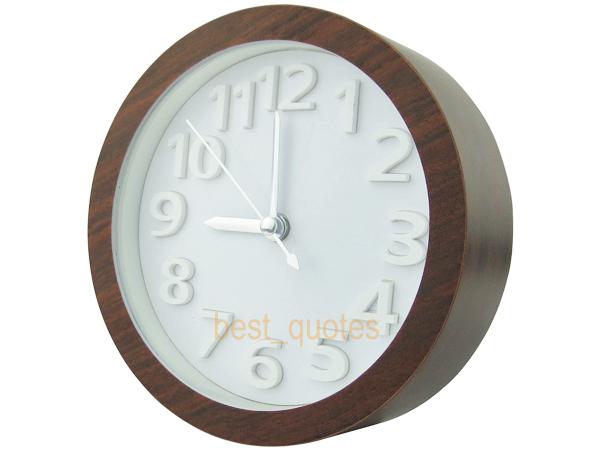 Dark Wood Style 12cm Plastic Analog Desk Alarm Clock with White 3D Face Free Shipping(China (Mainland))