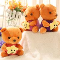 7'' 18 cm mini bear dolls with star soft bears stuffed plush toys, 12 pcs/lot cute small stuffed animals toys for baby girls