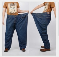 Plus Size New Fashion 2014 Winter Cotton Men Straight Loose Denim Jeans Washed Zipper Casual Long Trousers Blue