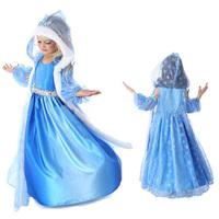 Trend design beatiful Hooded starfish princess dress Frozen costume Elsa&Anna long sleeve Girls Dresses children clothing A165