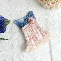Retail Hot Summer baby girls dress sleeveless flower kids girls fashion dresses denim girl casual dress children clothing A133