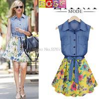 2015 Spring And Summer Women New Denim Stitching Chiffon Sleeveless Dresses Vest Dess Female