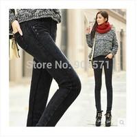 2014 Winter New Fashion Cotton Women Denim Leggings Jeans Thicken Warm Fleece Elastic Waist Washed Casual Slim Long Trousers