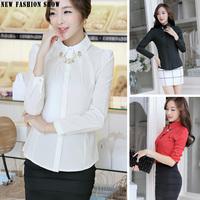 Fashion 2014 Office Ladies Formal Shirt Long Sleeve Plus Size Red Black Beige White Women Blouse Slim Elegant Female Tops 2137