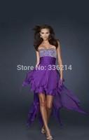 2014 New Arrival Sexy Elegant Cheap High Low Purple Chiffon Evening Dress Long Plus Size Wedding Party Prom Dresses