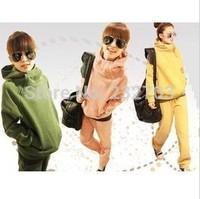 2014 zipper turtleneck sweatshirt plus velvet thickening solid color casual set