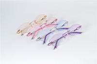 WOMEN RIMLESS PRESCRIPTION EYEGLASSES CAT EYE CUT DIAMOND OPTICAL EYE GLASS EYEWEAR CRYSTAL LENS METAL FRAME GLASSES 58036